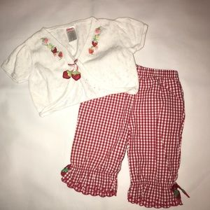Gymboree Strawberry Farm Cardigan/Capri Pants Set